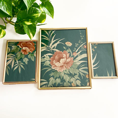 Set of 3 Brass Frames with Vintage Wallpaper