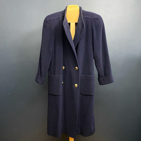 Navy 1980s Lambswool Coat