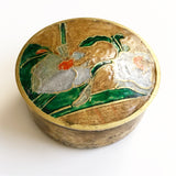 Vintage Cloisonné Enamel and Brass Trinket Box