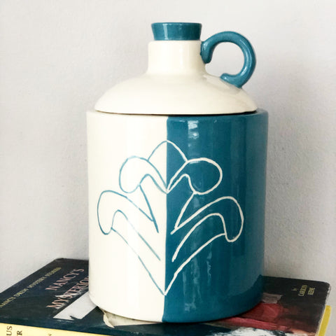 Teal and White 1970s Ceramic Jug