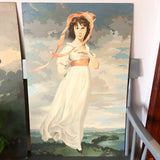 Large Vintage Blue Boy and Pink Lady Paint By Number Paintings