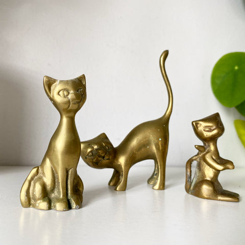 Trio of Brass Cats