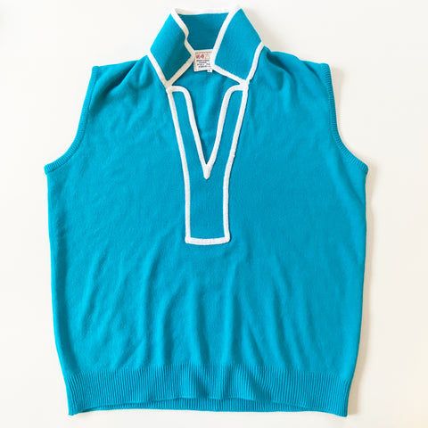 Mod Vest Turquoise with White