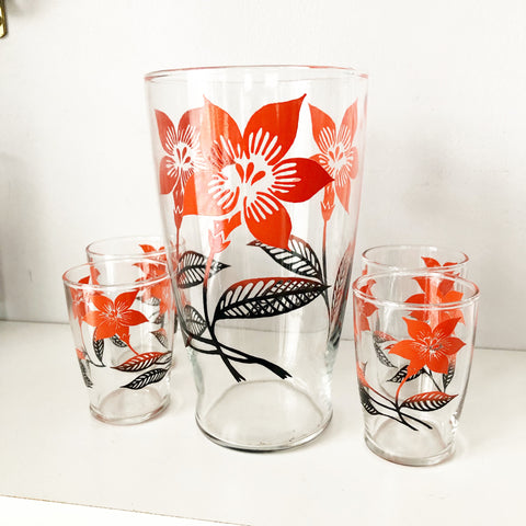 Retro Coral Floral Pitcher and 4 Glasses