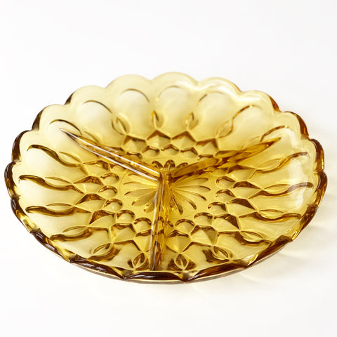 Amber Glass Serving Dish