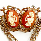 Double Cameo Chain Brooch