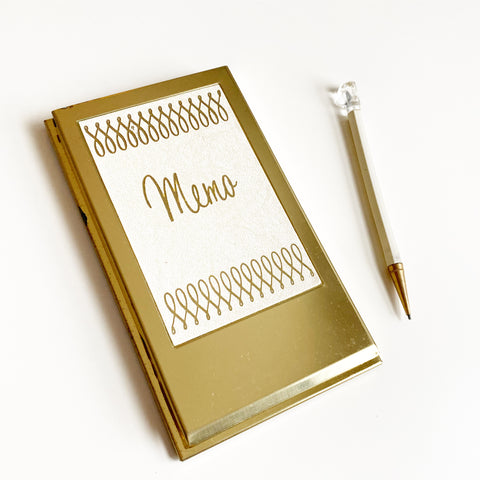 Brass Memo Pad with Pencil