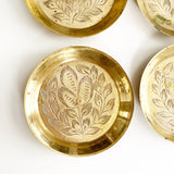 Set of 6 Vintage Etched Brass Coasters