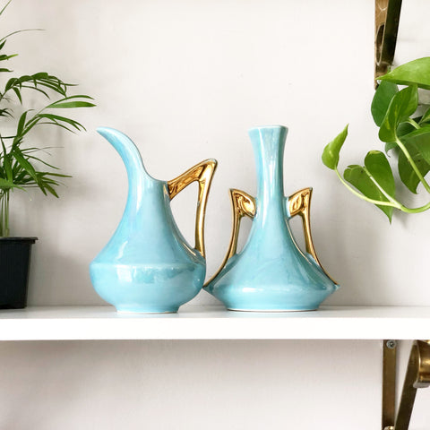 Turquoise and Gold Lustreware Vases