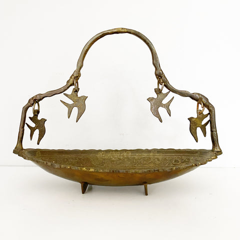 Brass Hanging Birds Bowl