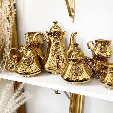 Gold Floral Tea Set