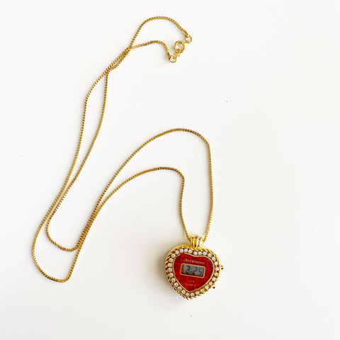 Astrosonic Pendant Watch on Gold Tone Chain (Heart)