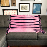 Crocheted Throw Pink and Navy with Fringe