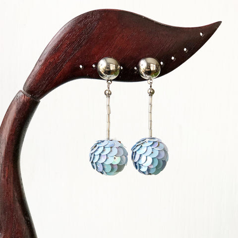 Vintage Blue Sequin Earrings