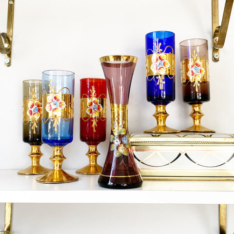 Hand Painted Vintage Glass and Vase Set