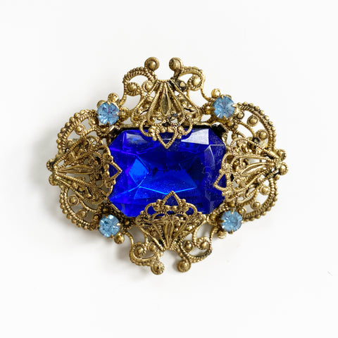 Royal Blue and Gold Filigree Brooch