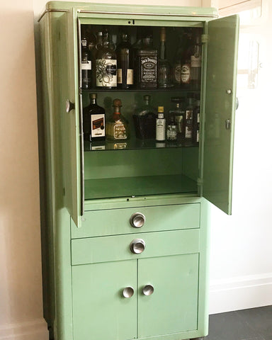 Mint Green Hospital Supply Cabinet