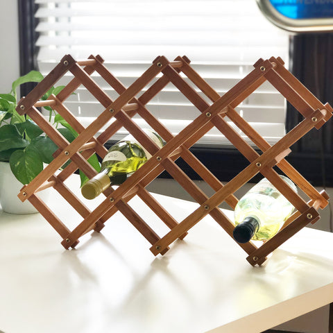 Vintage Folding Wooden Wine Rack