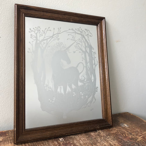 Vintage Framed Unicorn Mirror