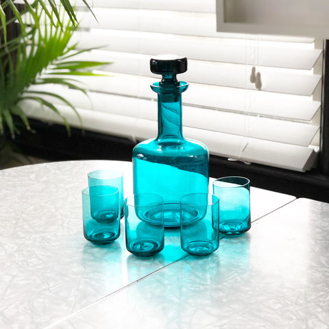 Turquoise Blue Glass Decanter Set with 5 Glasses