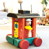 Vintage Huffy Puffy Fisher Price Wooden Train Conductor