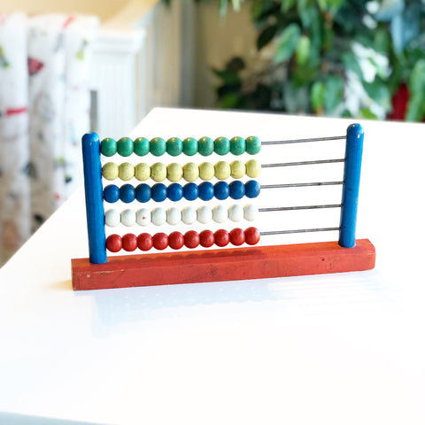 Vintage Wooden Bead Abacus Blue and Red body