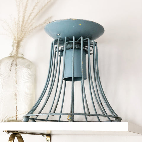 Blue Metal Cage Light Fixture