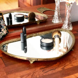 Footed Vanity Brass Mirror Tray