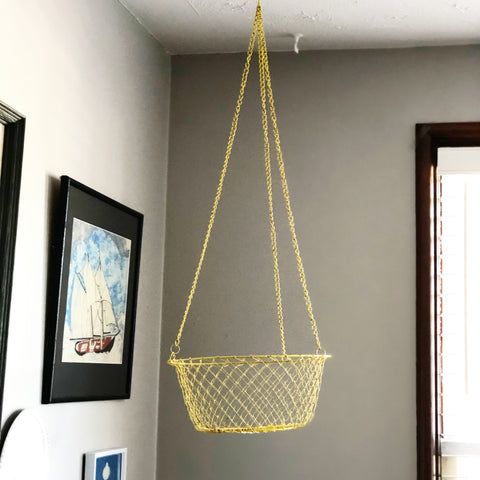 Vintage Yellow Metal Collapsible Hanging Basket