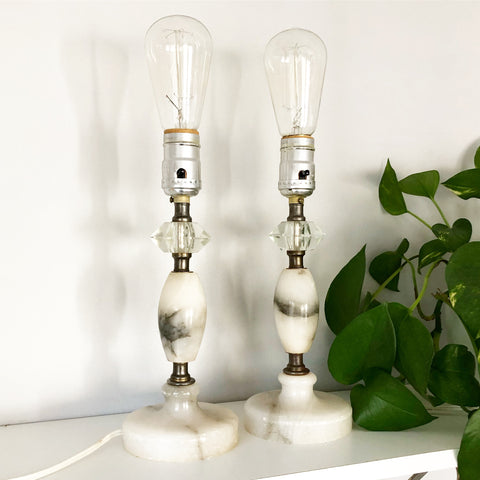 Vintage Black and White Marble and Crystal Lamps