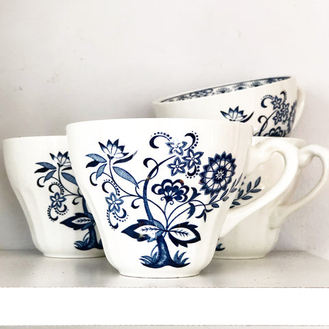 Blue & White Floral Mugs/Teacups