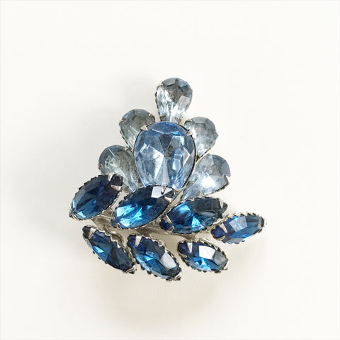 Vintage Blue Rhinestones Brooch Costume Jewelry