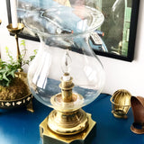Vintage Solid Brass Stiffel Lamp with Hurricane Shade