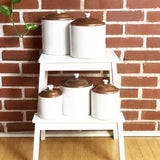 Set of 5 Ceramic & Copper Kitchen Canisters