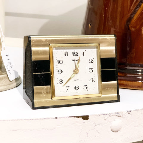 Gold & Black Taiyo Wind Up Alarm Clock