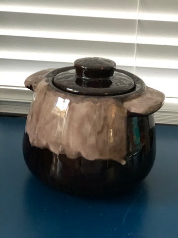 Vintage Brown and Taupe Drip Glaze Pottery Crock