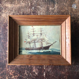 Small Vintage Tall Ship Print, Framed
