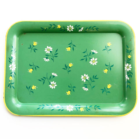 Retro Green Floral Serving Tray