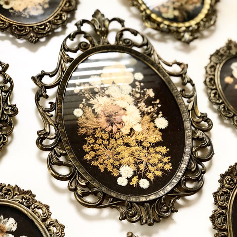 Set of 8 Italian Brass Oval Frames w Pressed Flowers