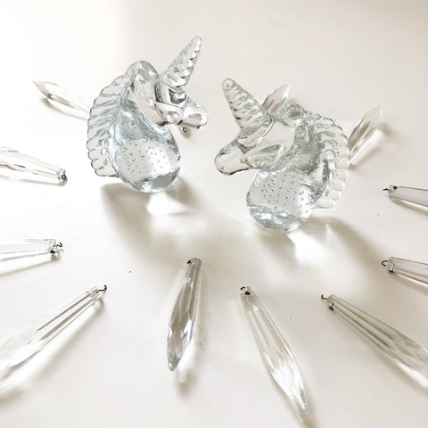 Set of Glass Unicorns