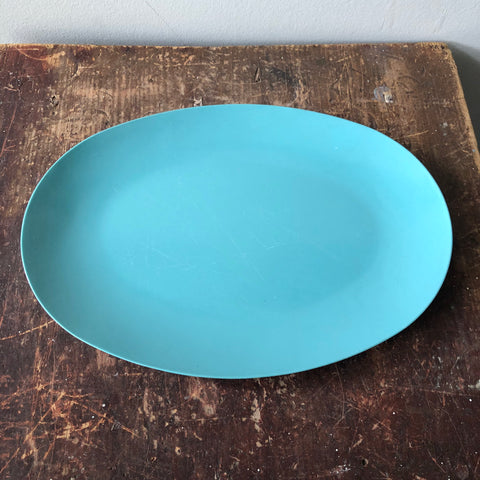 Vintage Turquoise Melmac Oval Tray