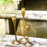 Set of 3 Tulip Brass Candlesticks