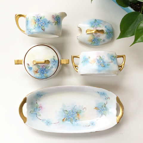 Hand painted Forget Me Not Service Set from 1925