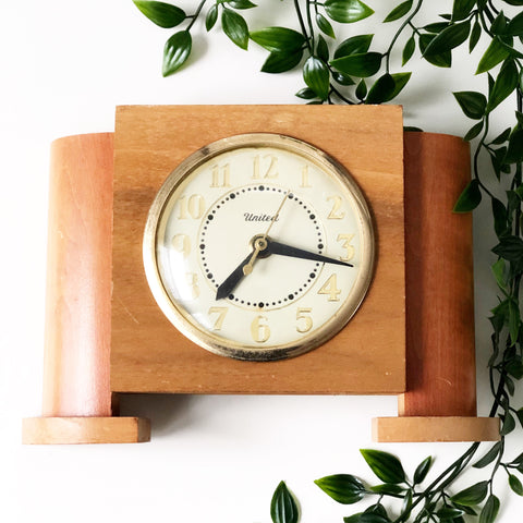 Art Deco Style 1960s Wooden United Clock