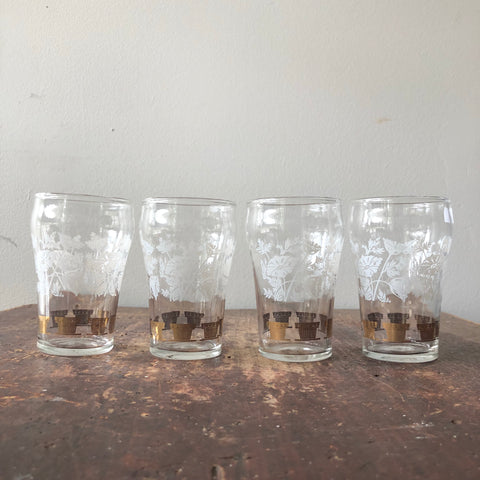 Set of 4 White & Gold Floral Juice Glasses