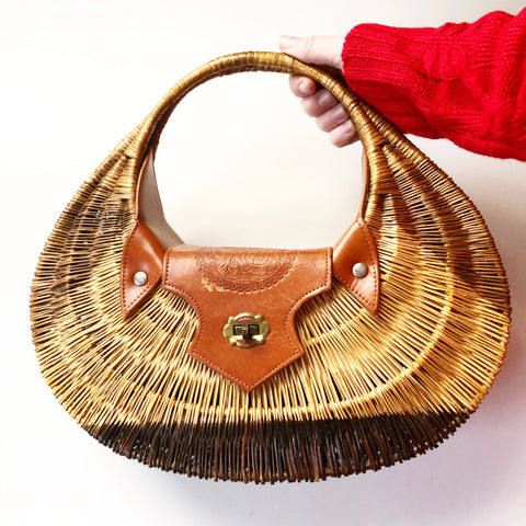 1950s Wicker & Leather Purse