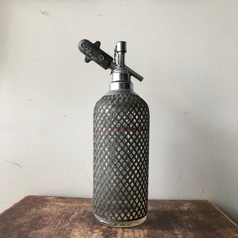 Vintage Glass & Metal Mesh Seltzer Bottle