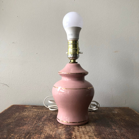 Vintage Dusty Rose w Gold Lamp