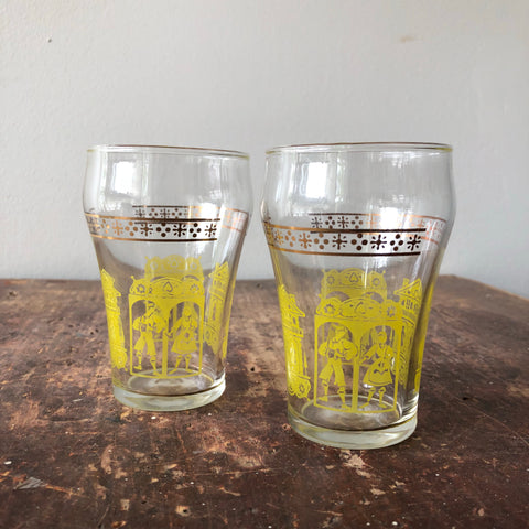 Set of 2 Vintage Juice Glasses Yellow & Gold