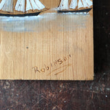 Vintage Sailboats Painted on Wood - signed Robinson from PEI